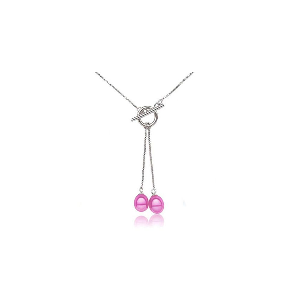 Double Pink Freshwater Pearl Necklace and Silver Mounting
