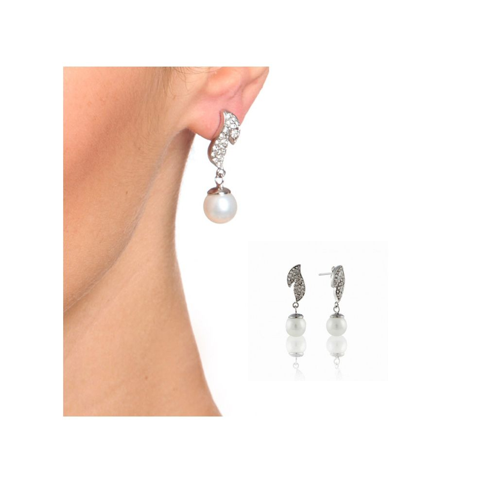 White imitation pearl in mother-of-pearl Pendant and Earrings Set and 925 Silver