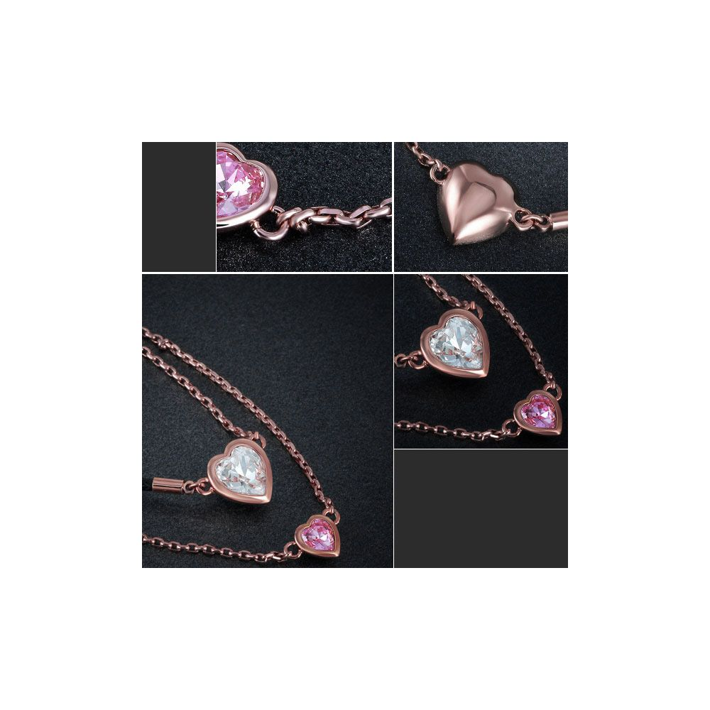 Swarovski - White and Pink Swarovski Crystal Elements and Rhodium Plated Double Heart Necklace