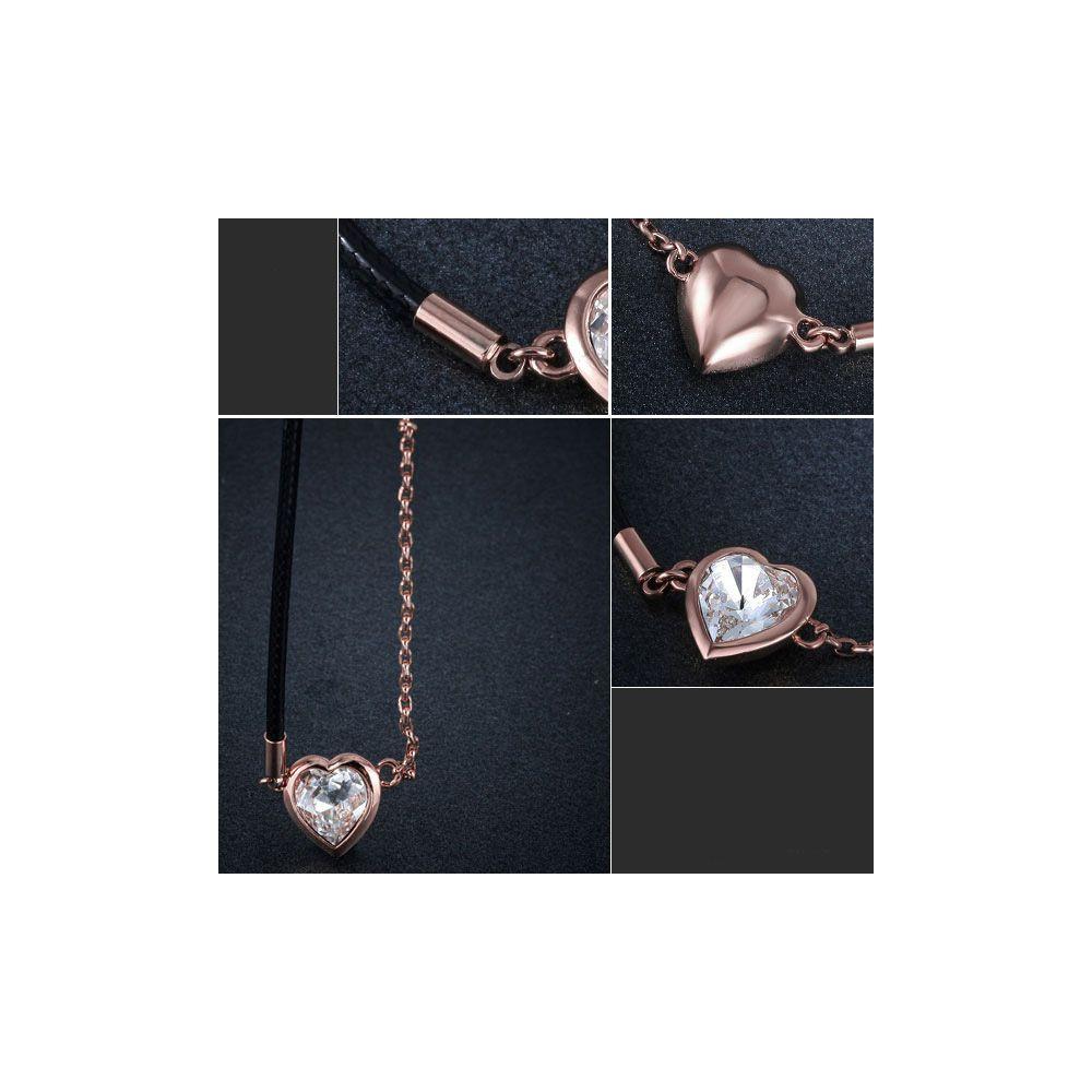 Swarovski - White Swarovski Crystal Elements Heart Necklace and Rose Gold Plated