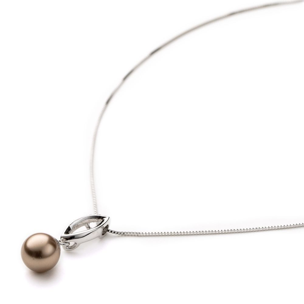 Bronze Pearl and Crystal Pendant and white gold plated