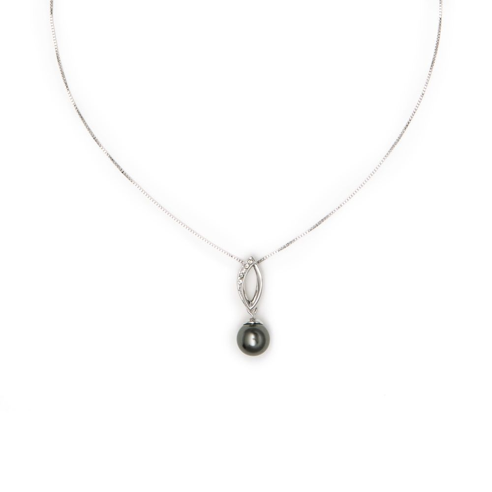 Grey Pearl and Crystal Pendant and white gold plated