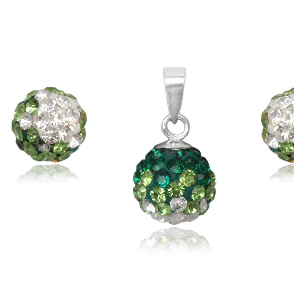Green Crystal Pendant and Earrings Set and 925 Silver