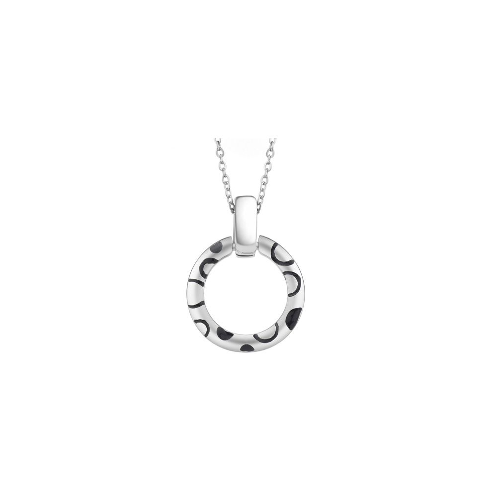 Swarovski - Pink Swarovski Crystal Elements Circle Pendant and Rhodium Plated