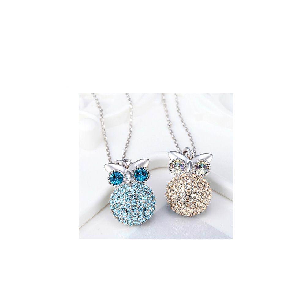 Swarovski - Champagne Swarovski Crystal Elements and Rhodium Plated Owl Pendant