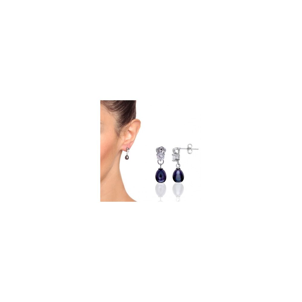 Black Teardrop Earrings white Gold plated and Cz Stones mounting