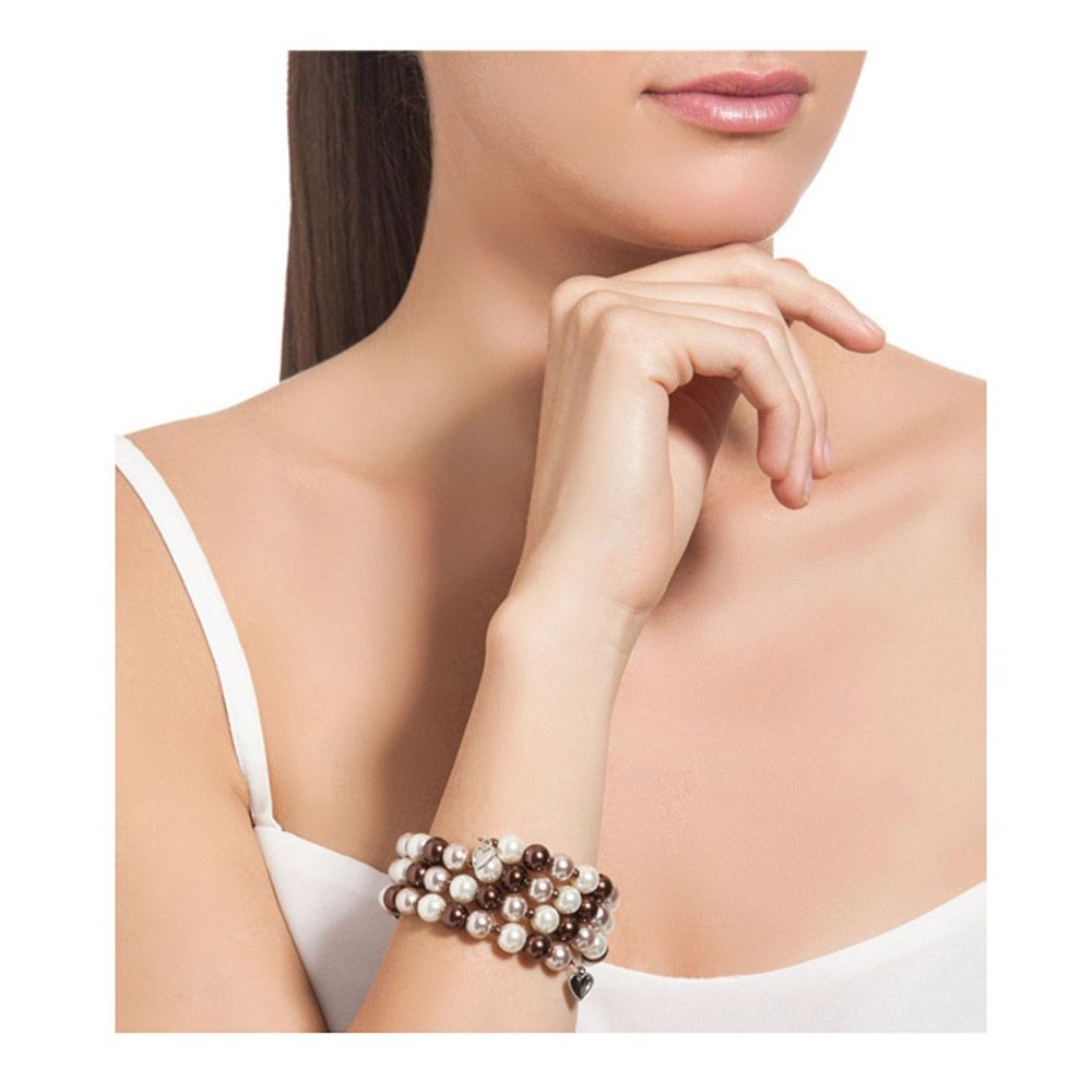 Brown Pearls and Rhodium Plated 3 Rows Bracelet