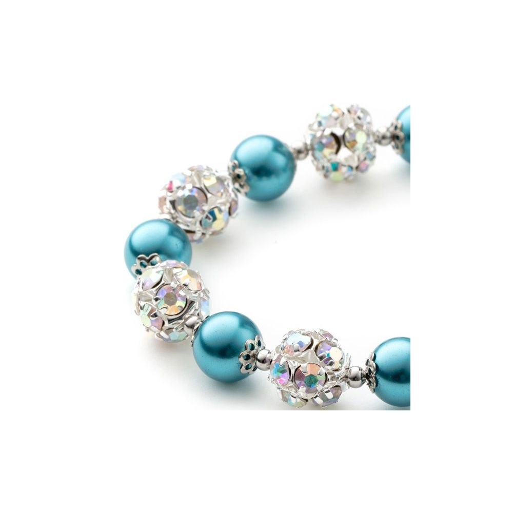 Blue Pearls, Crystal and Rhodium Plated 1 Row Bracelet
