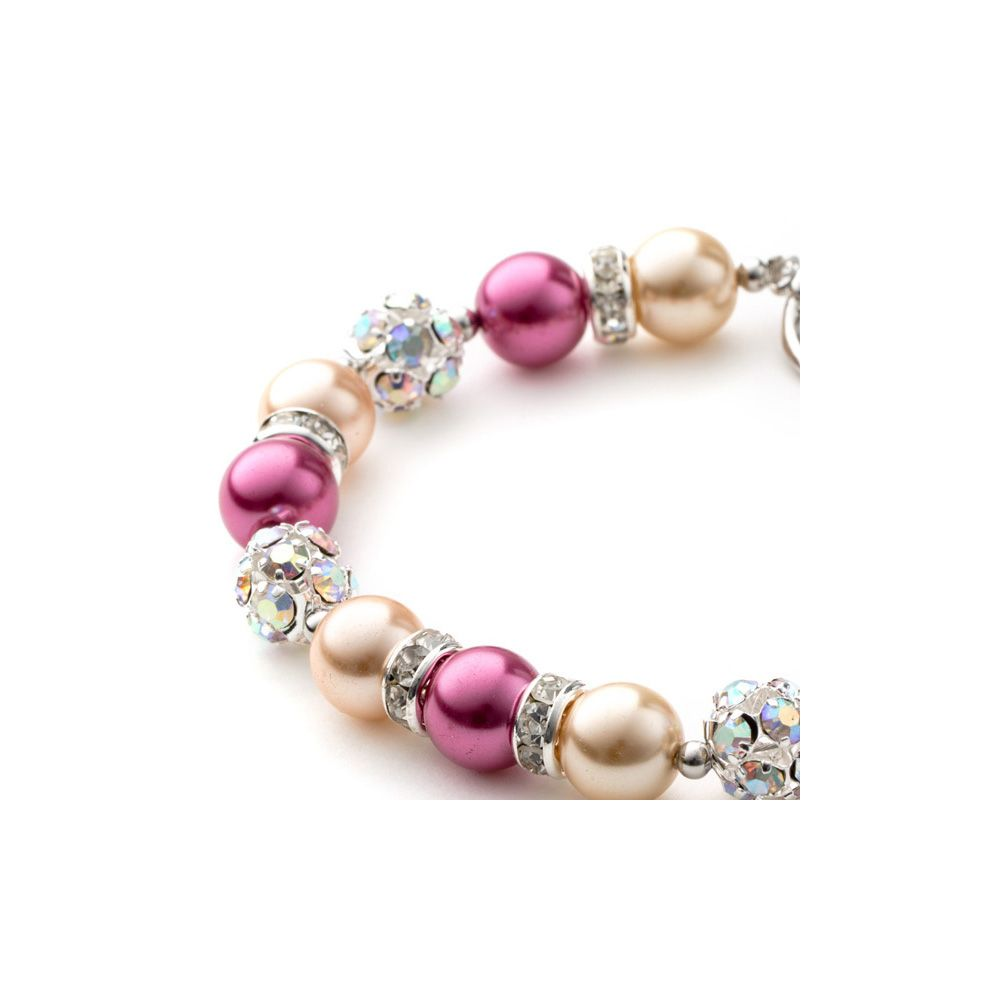 Orange and Pink Pearls, Crystal and Rhodium Plated 1 Row Bracelet