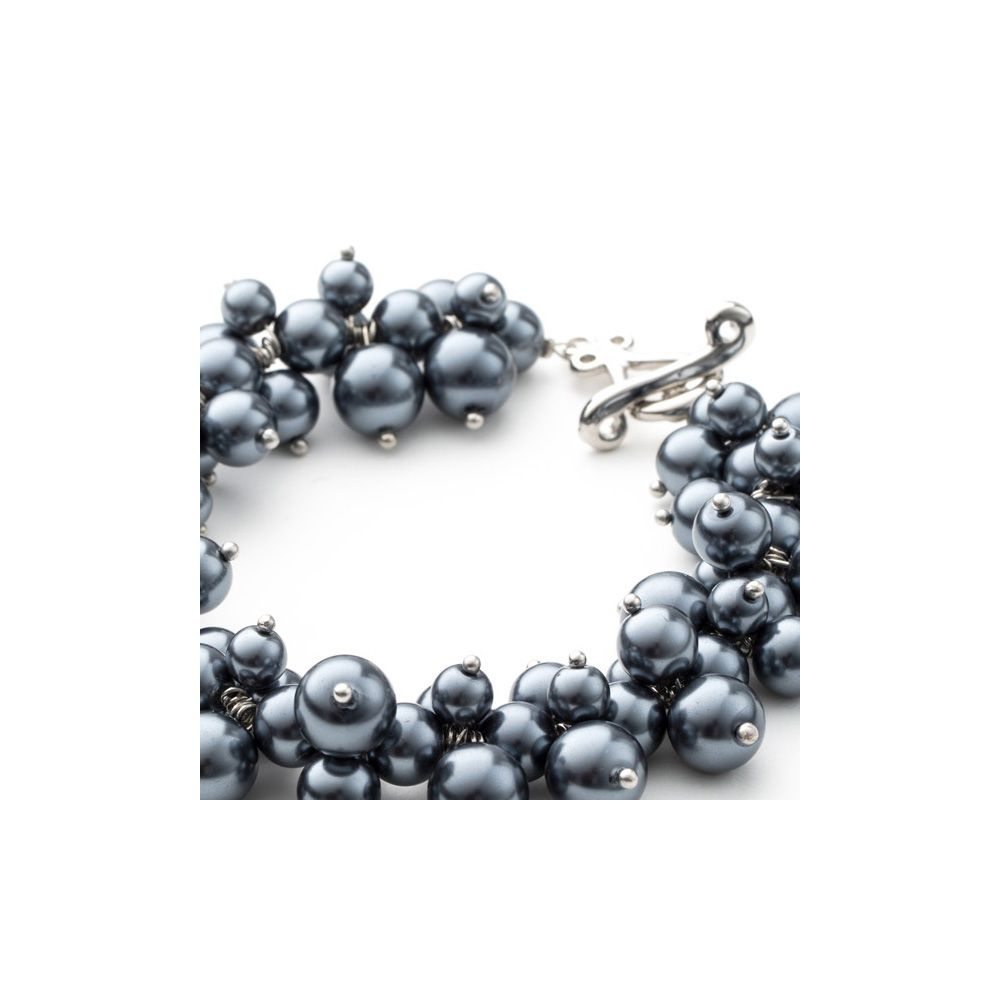 Silver Grey Multi Pearls, Crystal and Rhodium Plated Bracelet