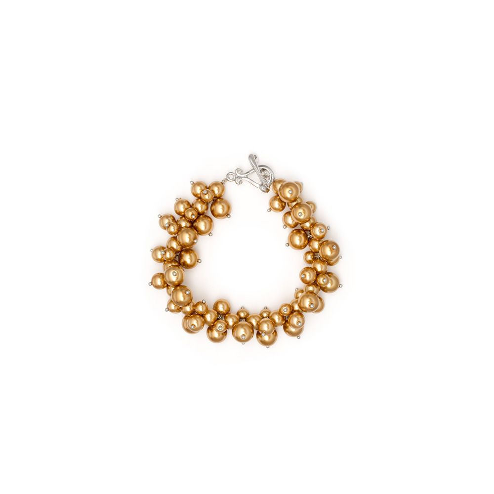Gold Multi Pearls and Rhodium Plated Bracelet