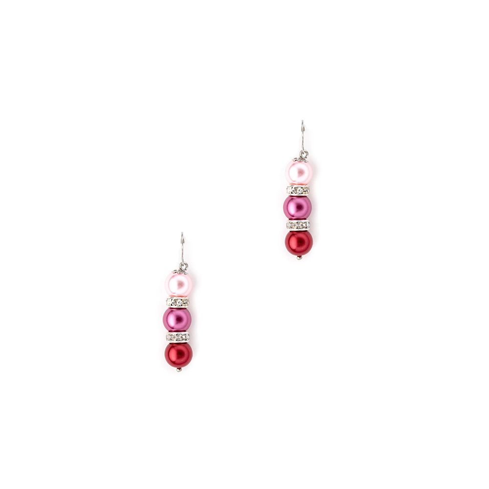 Pink Pearls and Crystal Pendant and Earrings Set