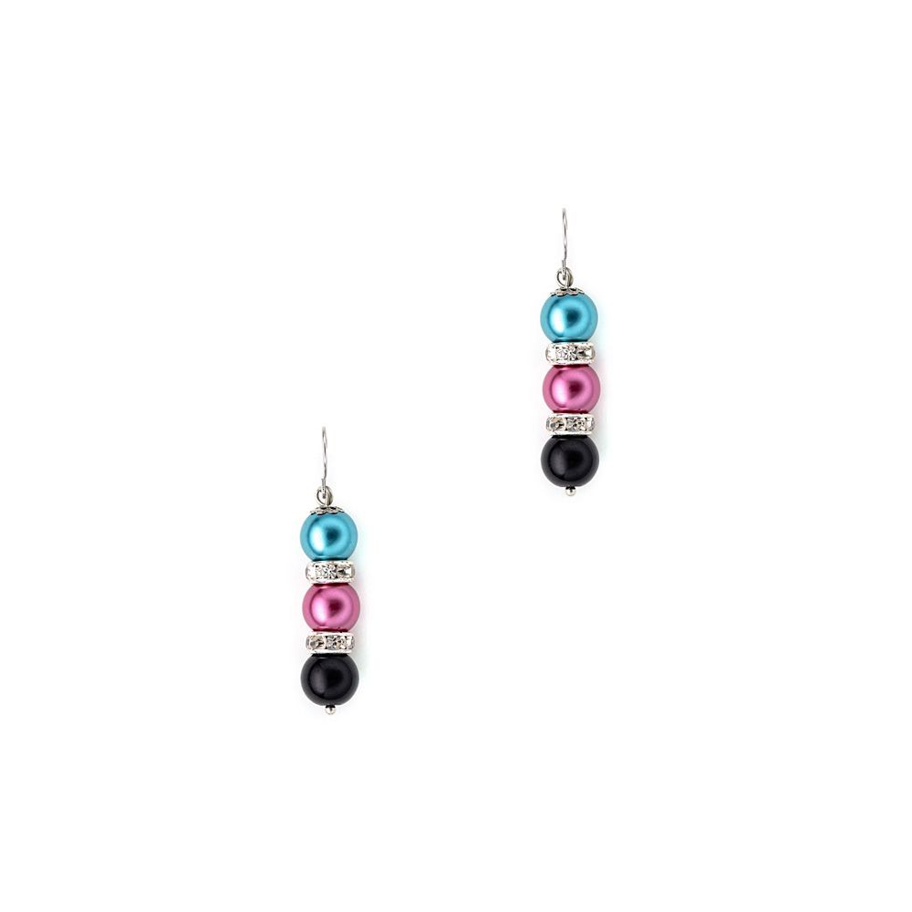 Multicolor Pearls, Crystal Pendant and Earrings Set