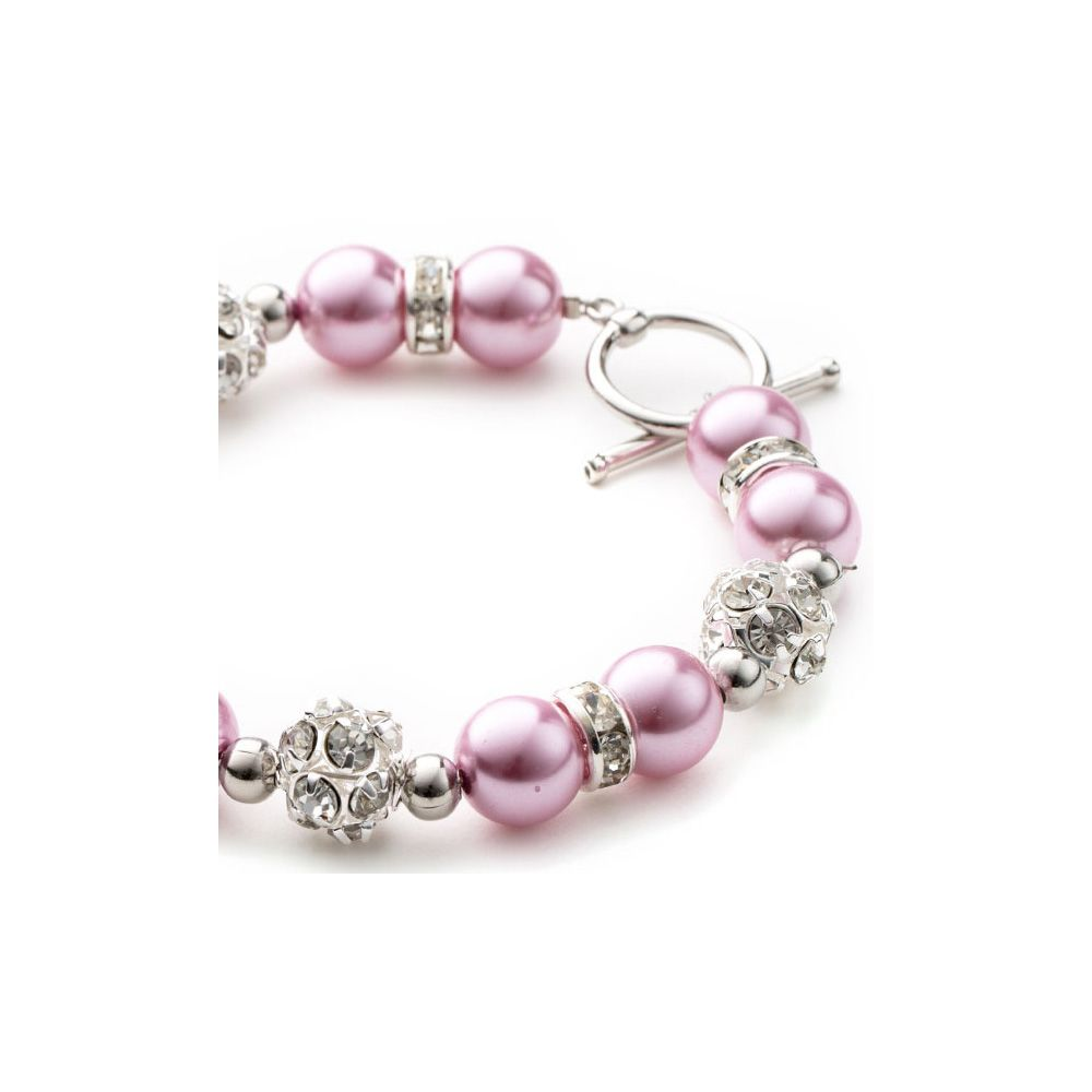 Pink Pearls, Crystal and Rhodium Plated Necklace, Bracelet and Earrings Set