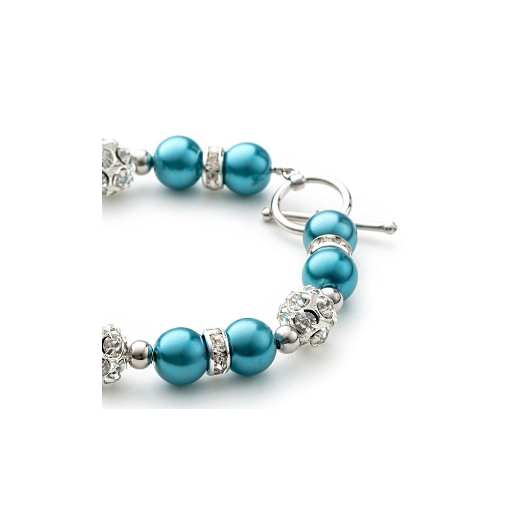 Blue Pearls, Crystal and Rhodium Plated Bracelet and Earrings Set