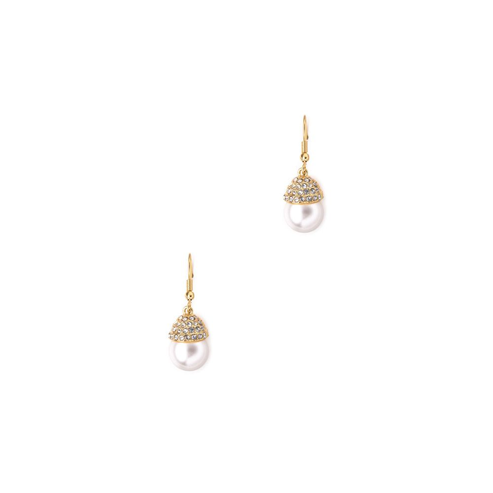 White Pearl and Crystal Drop Earrings and Yellow Gold plated