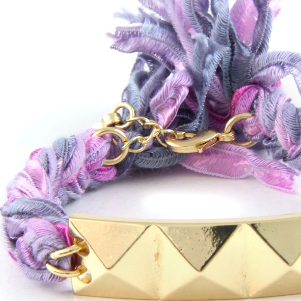 Ettika - Purple Ribbons and Yellow Gold Pyramid Bracelet
