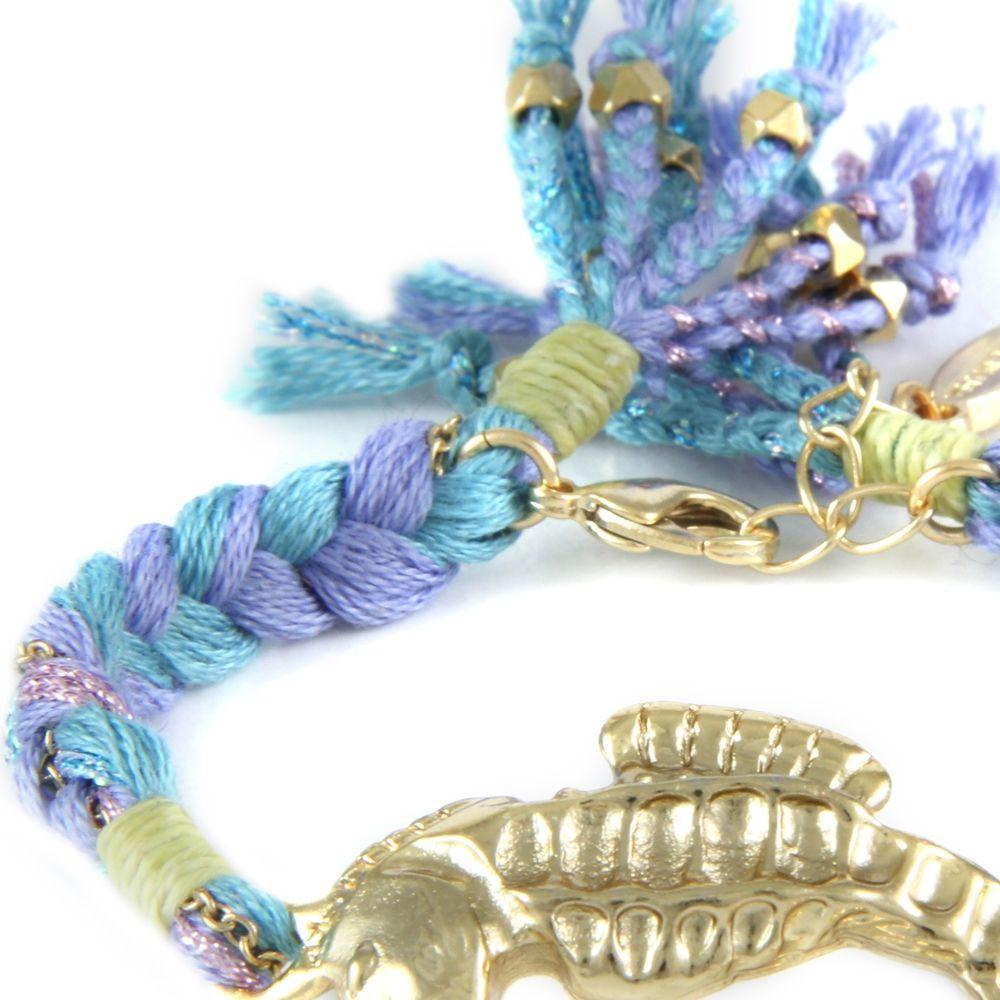 Ettika - Blue Ribbons and Yellow Gold Seahorse Bracelet