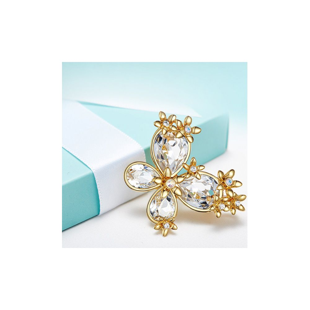 Swarovski - White Swarovski Crystal Elements Butterfly Pendant Brooch