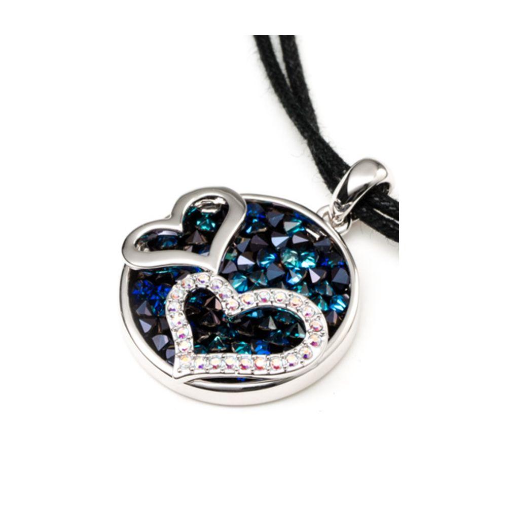 Swarovski - Blue Swarovski Crystal Elements Double Hearts Necklace and Rhodium Plated