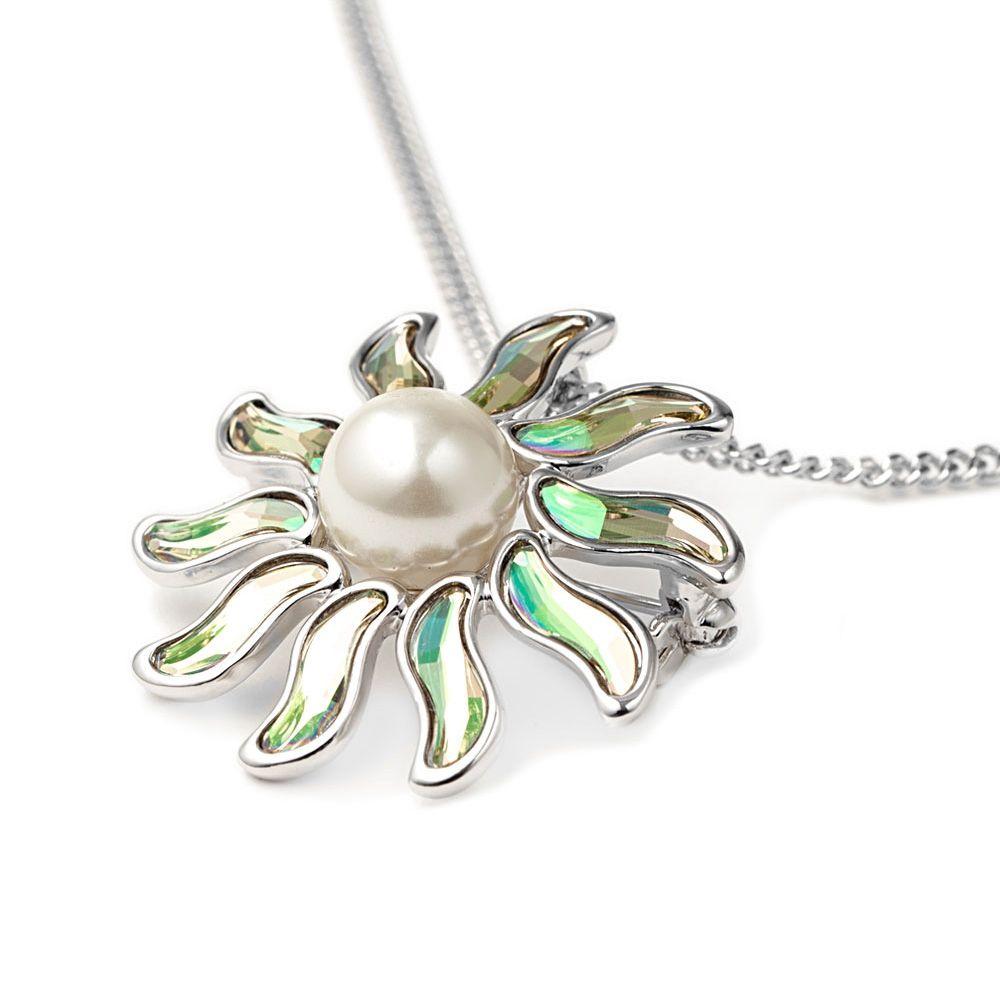 Swarovski - White Pearl and Swarovski Crystal Elements Sun Brooch Pendant