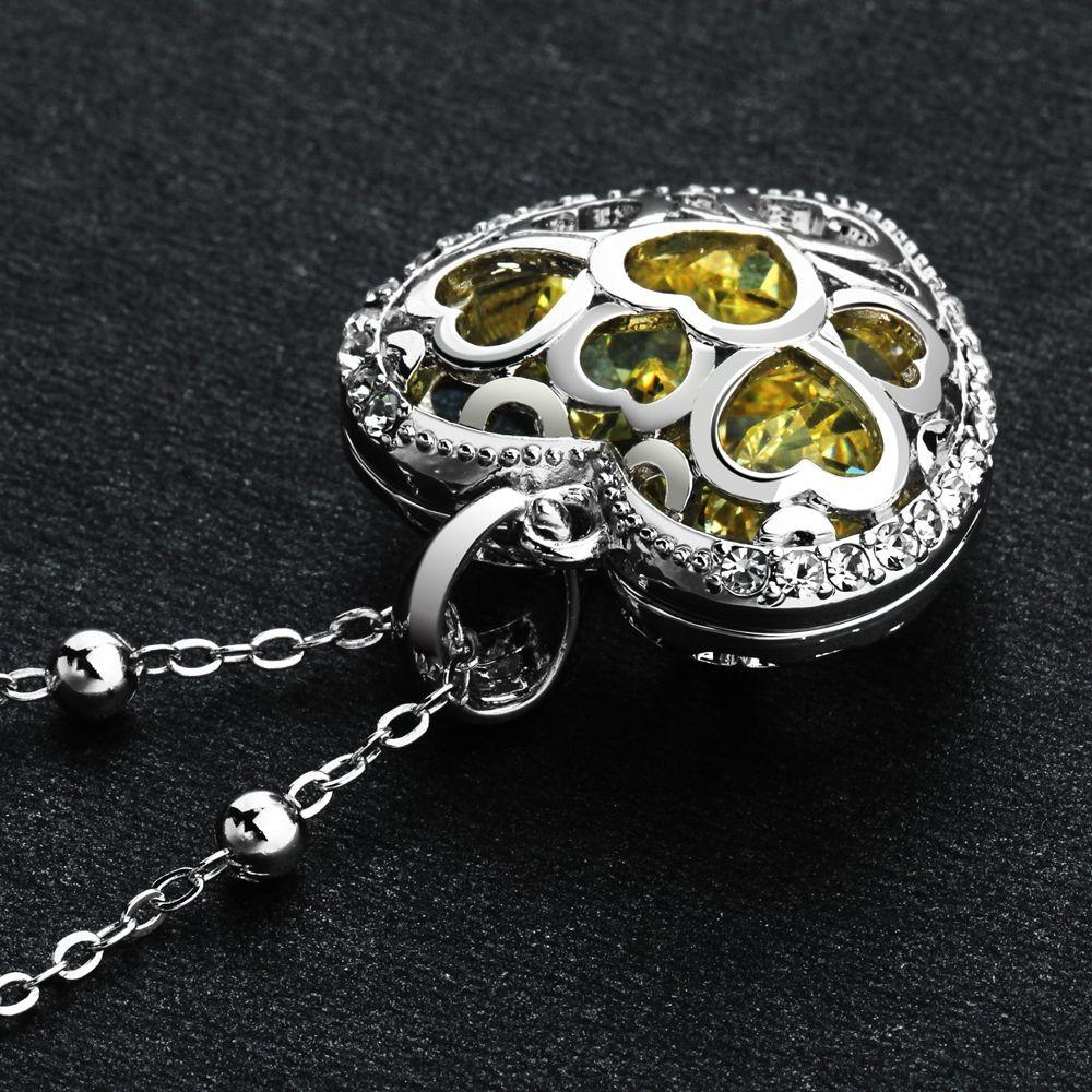 Swarovski - Yellow Swarovski Crystal Elements Heart Pendant and Rhodium Plated