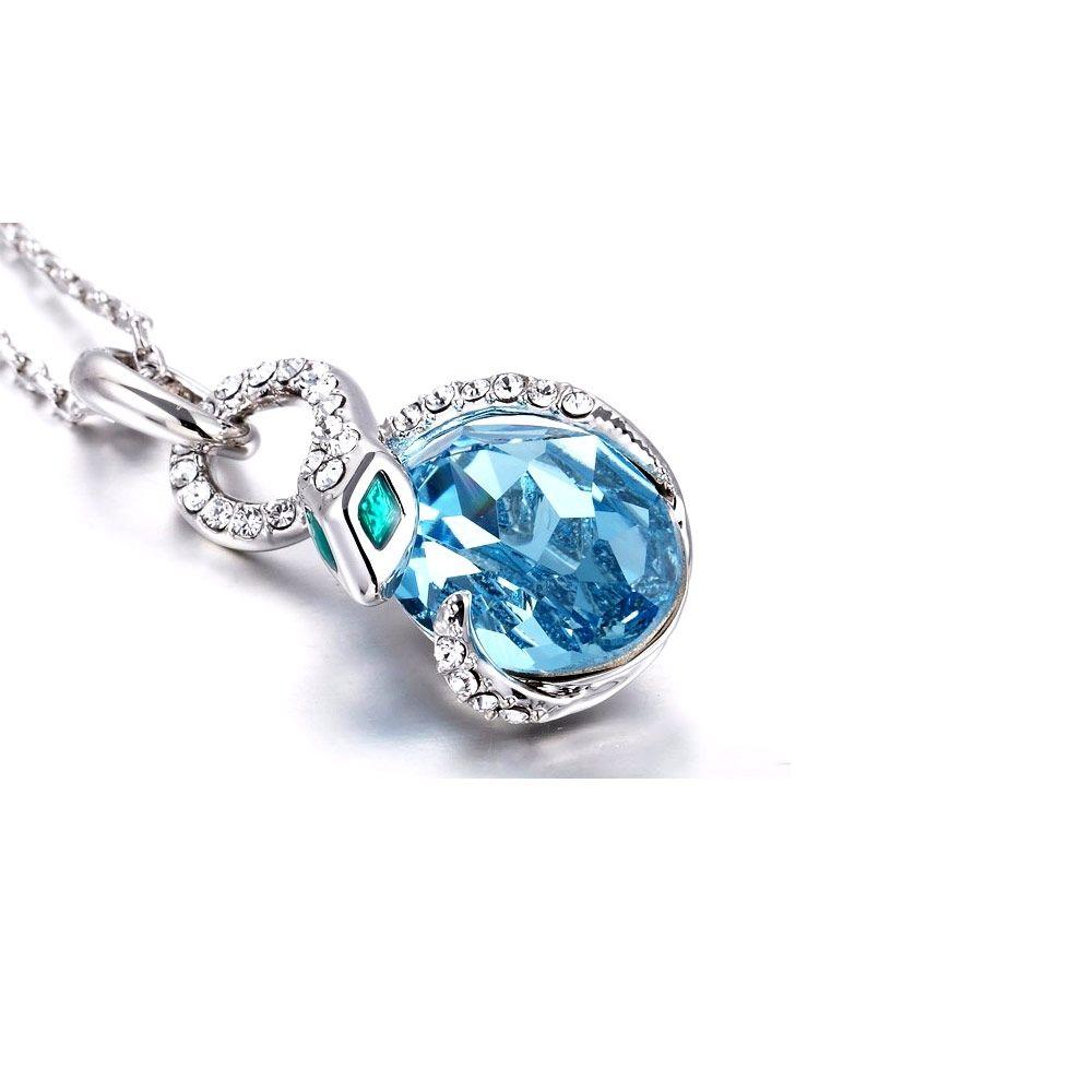 Swarovski - Blue Swarovski Crystal Elements Snake Pendant and Rhodium Plated