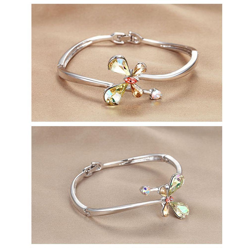Swarovski - Aurora Borealis Swarovski Crystal Elements Butterfly and Rhodium Plated Bangle Bracelet