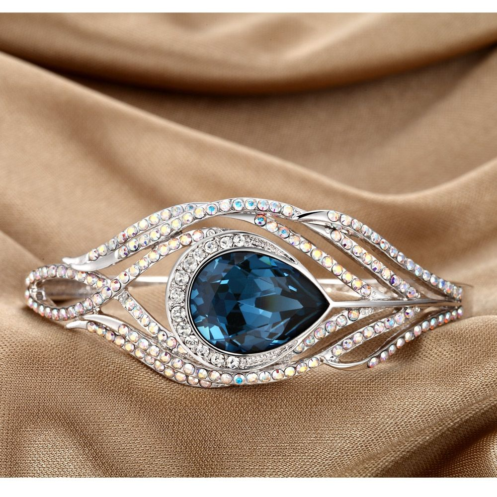 Swarovski - Blue Swarovski Crystal Elements Peacock Feather Bangle Bracelet