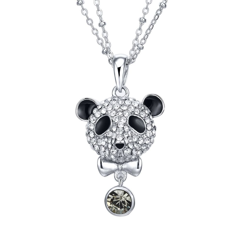 Swarovski - Black Diamond Swarovski Crystal Elements Crystal Panda Pendant and Rhodium Plated