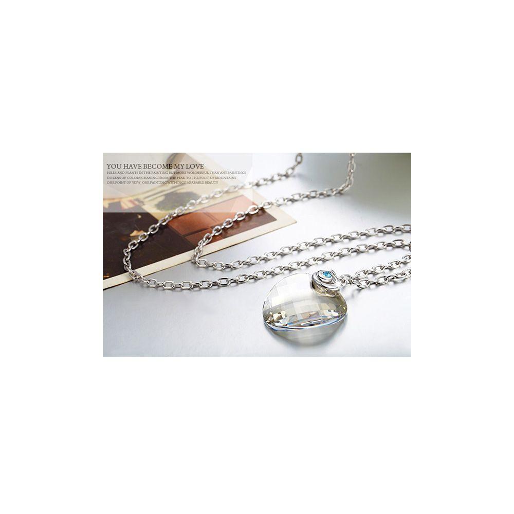 Swarovski - White Swarovski Crystal Elements Circle Necklace and Rhodium Plated