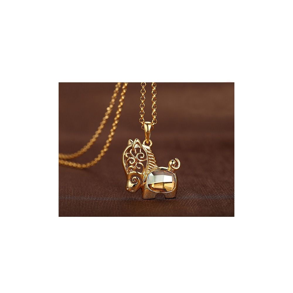 Swarovski - Yellow Swarovski Crystal Elements Horse Pendant and Yellow Gold Plated