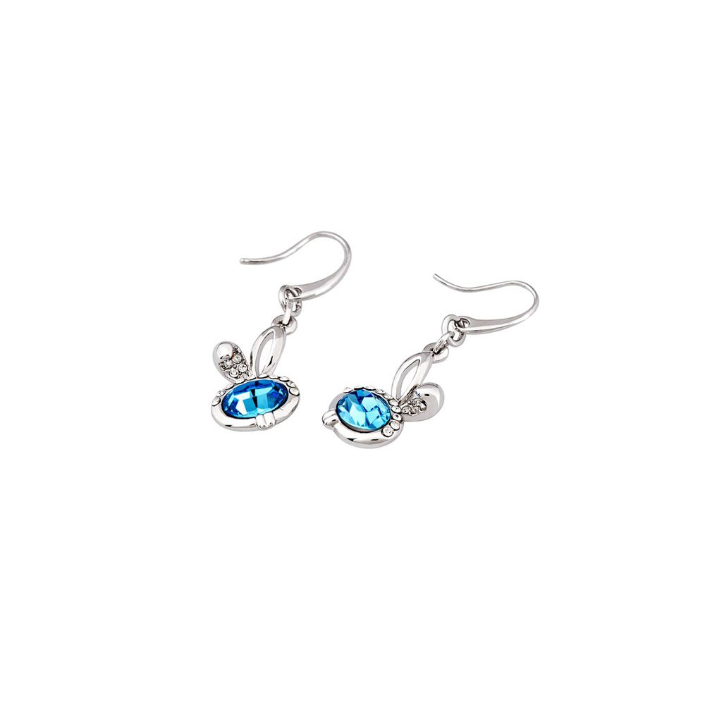 Swarovski - Blue Swarovski Crystal Elements Rabbit Earrings and Rhodium Plated