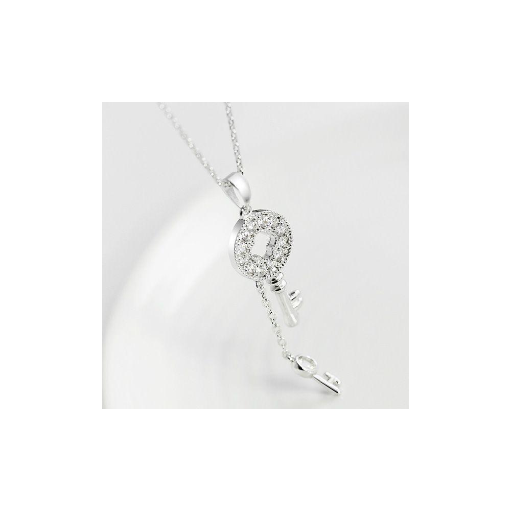 Swarovski - White Swarovski Crystal Elements Key Pendant and Rhodium Plated