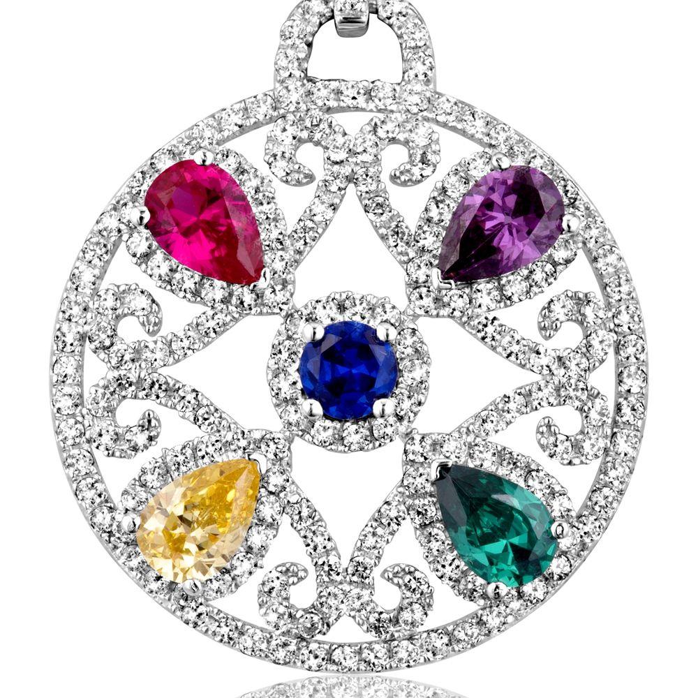 Swarovski - Multicolor Swarovski Crystal Elements Circle Pendant and 925 Silver