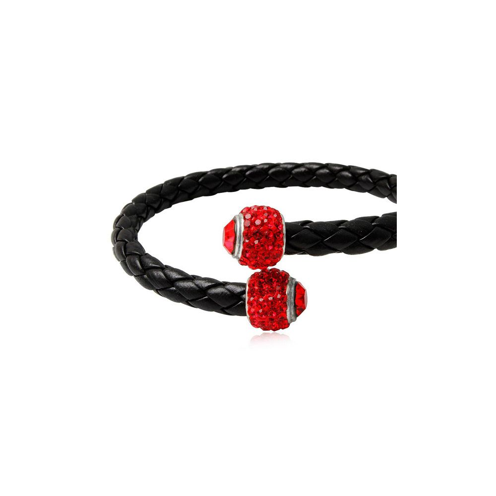 Black Leather Red Crystal and 925 Silver Bracelet