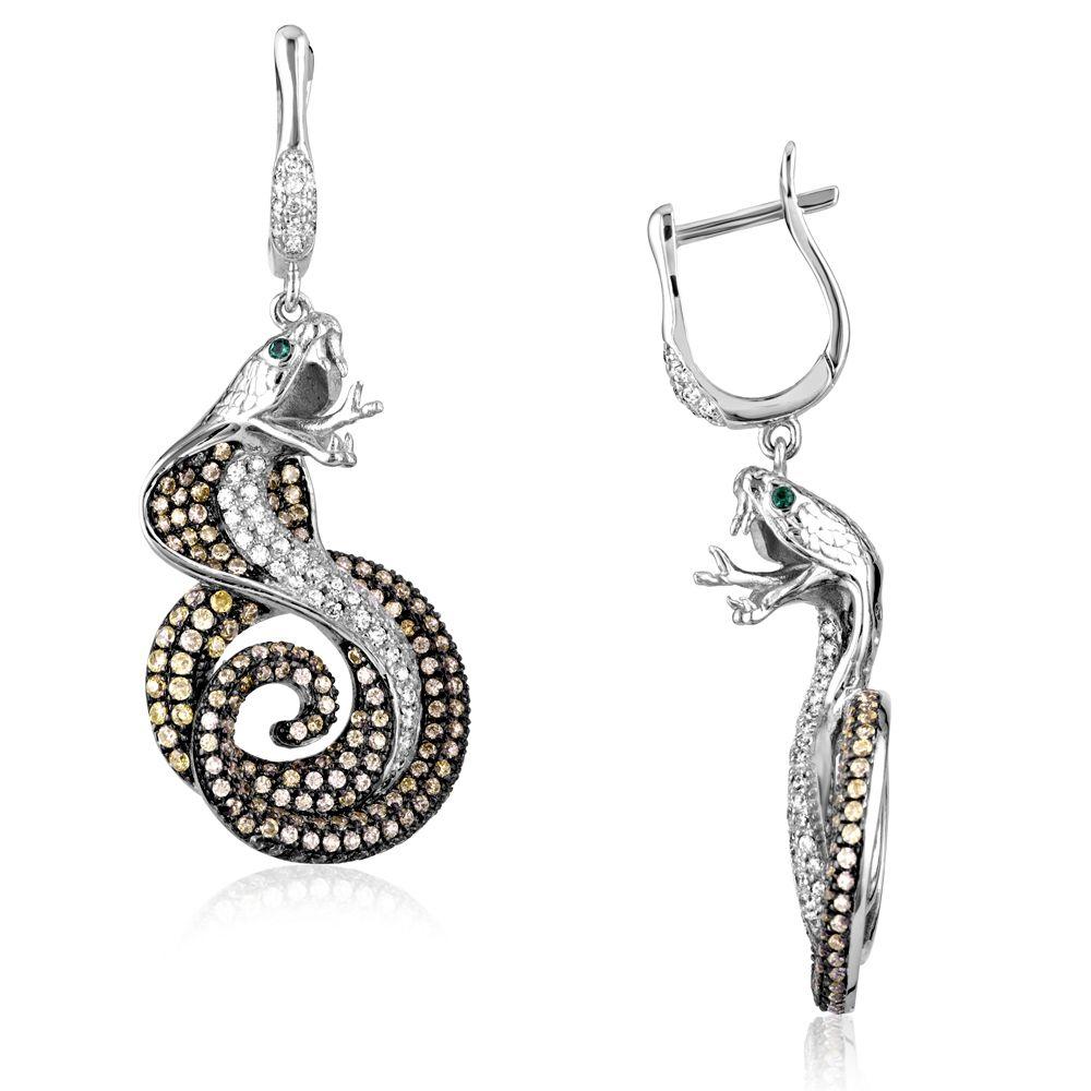 Swarovski - Green and White Cobra Snake Earrings Silver and 430 Swarovski Crystal Cubic Zirconia