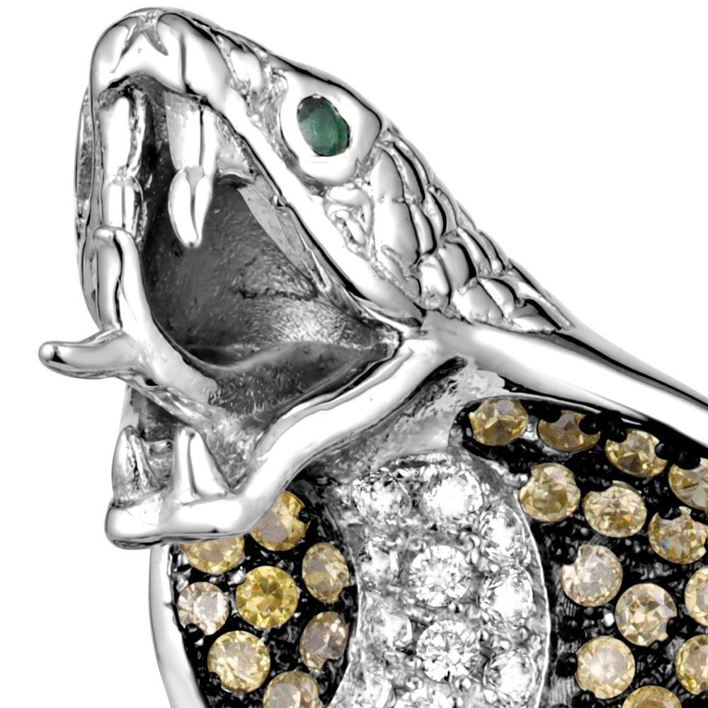 Swarovski - Cobra Snake Pendant 925 Silver and 267 White and Green Swarovski Crystal Zirconia