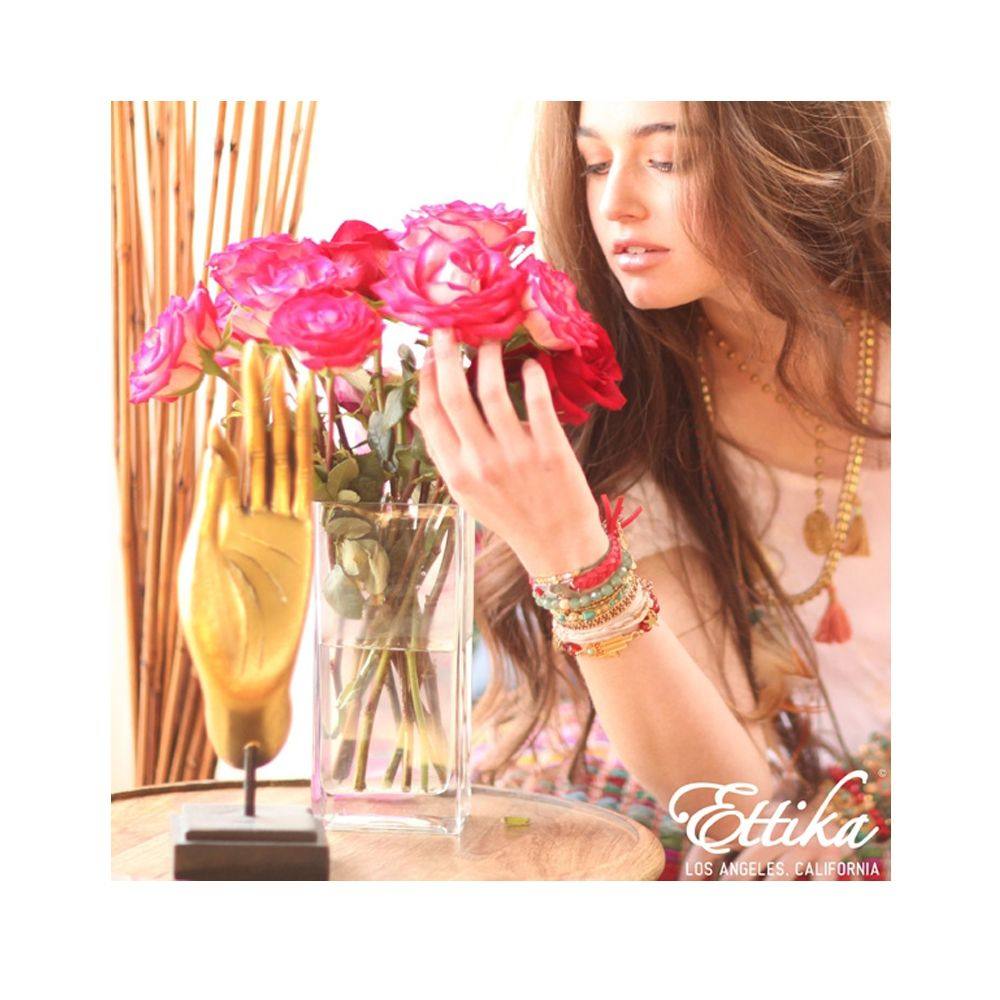 Ettika - Red Ribbons and Yellow Gold Cross Bracelet
