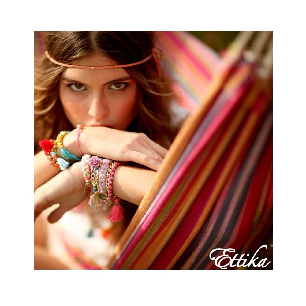 Ettika - Feather in Yellow Gold Friendship Bracelet and Cotton Braided Rainbow