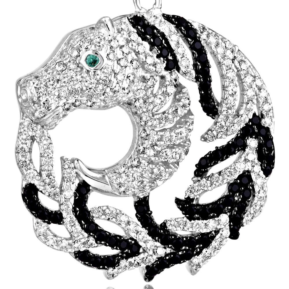 Swarovski - 470 White and Black Swarovski Crystal Zirconia Horse Earrings and 925 Silver