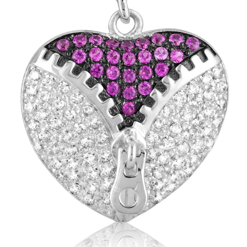 Swarovski - 206 White and Pink Swarovski Crystal Zirconia Heart Earrings and 925 Silver