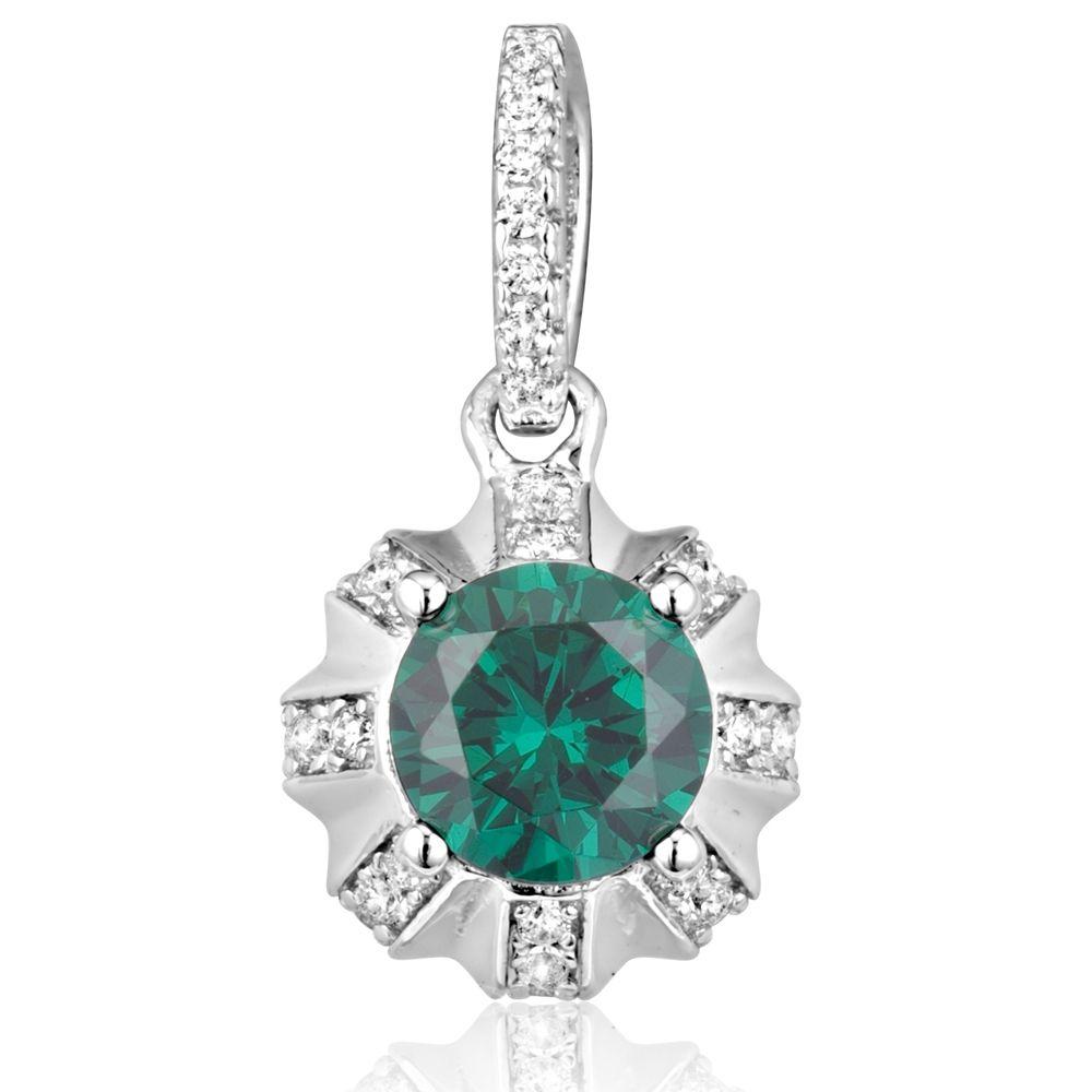 Swarovski - White and Green 40 Swarovski Crystal Cubic Zirconia Sun Pendant and Silver Mounting