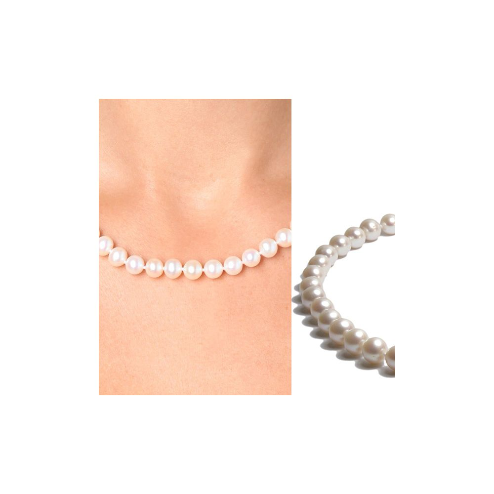 White Freshwater Pearl Classical Necklace and 925 Silver