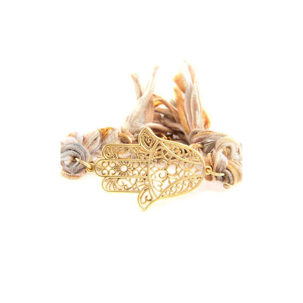 Ettika - Multicolor Ribbons and Yellow Gold Hamsa Bracelet