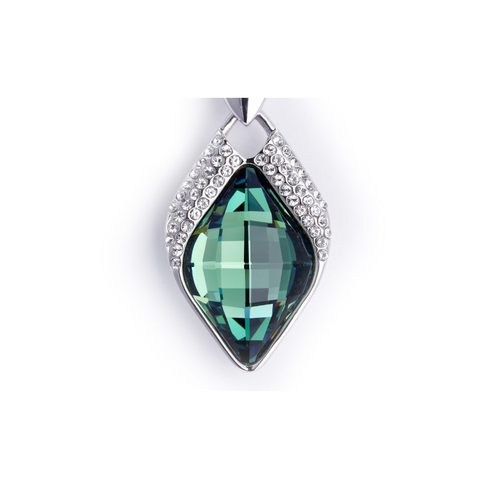 Swarovski - Blue Swarovski Crystal Element Diamond Pendant and Rhodium Plated