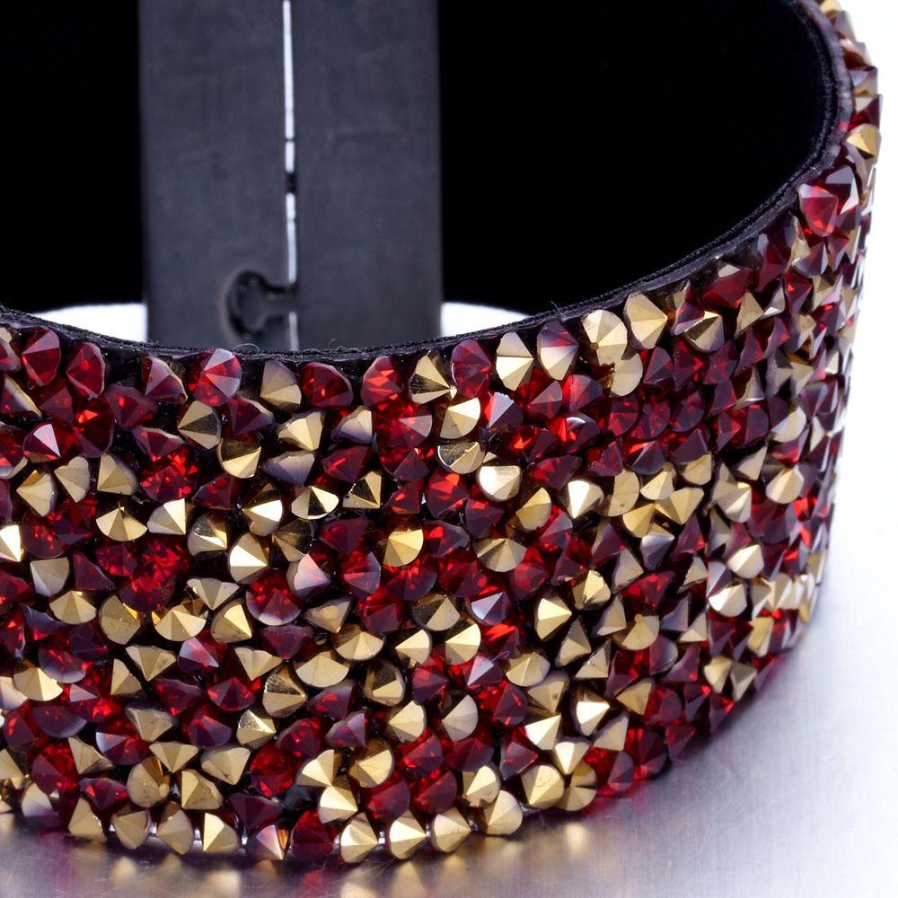 Swarovski - Red and Gold Swarovski Crystal Elements and Velvet Bracelet