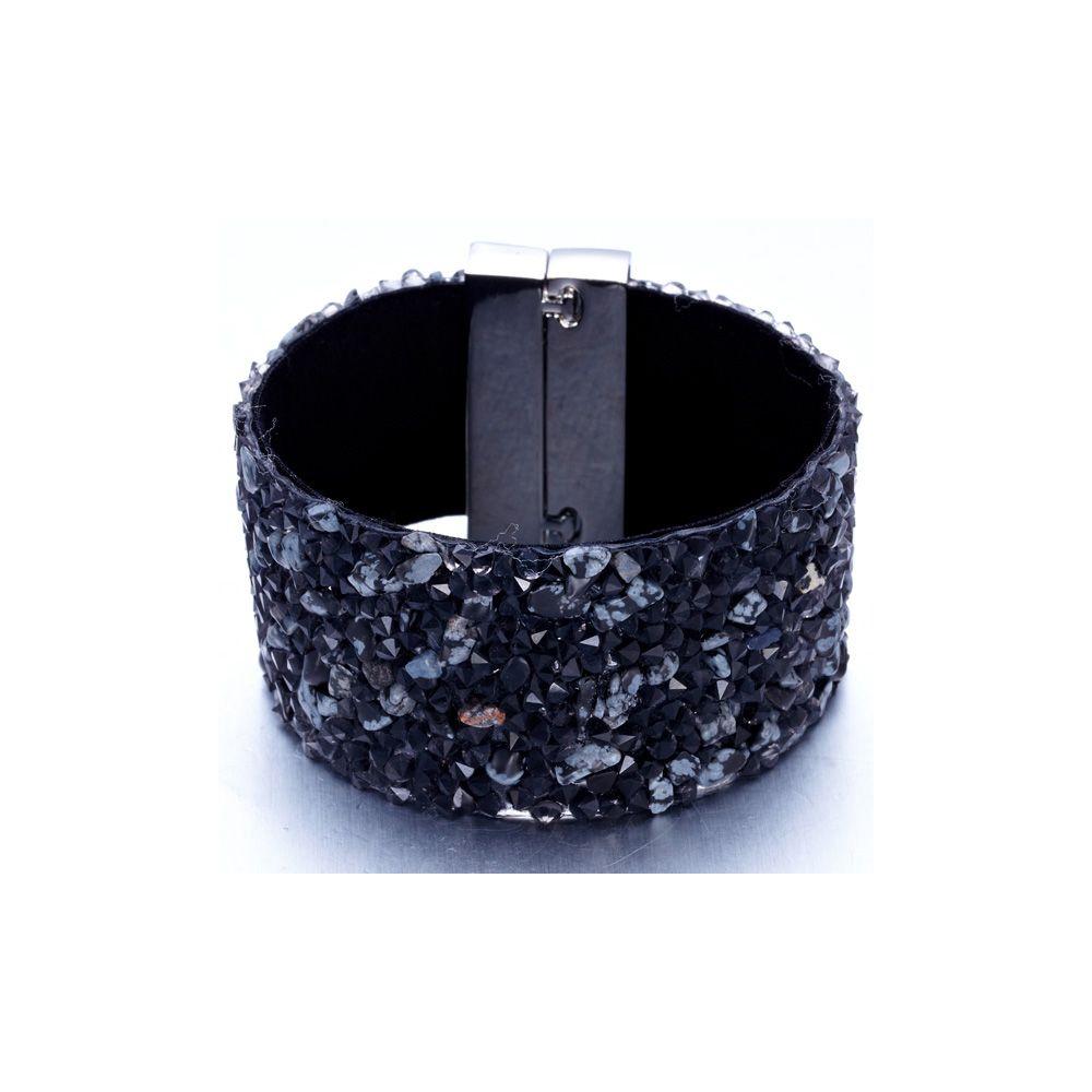 Swarovski - Black Swarovski Crystal Elements and Grey Gems and Velvet Bracelet