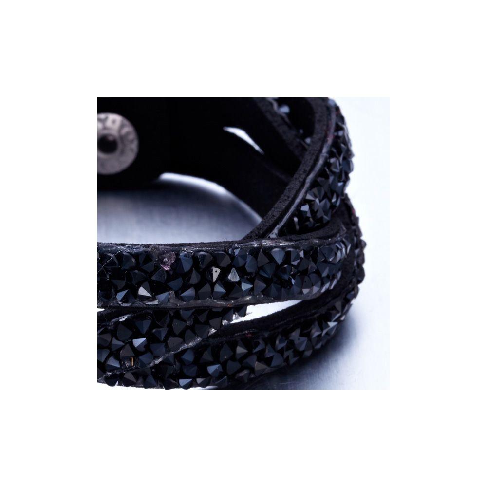 Swarovski - Black Swarovski Crystal Elements and Leather Interlaced Bracelet