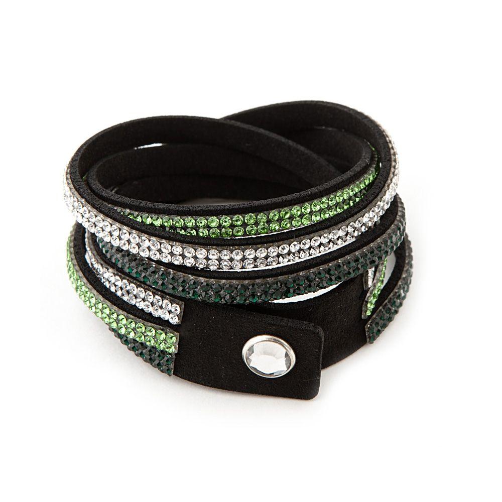 Swarovski - White and Green Swarovski Crystal Elements and Black Leather 3 Rows Bracelet